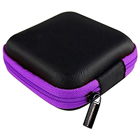 Bluelans® Square Zipper Storage Bag Carrying Case for Hard Keep Earphones SD Card Area (Purple)