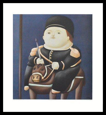 Fernando Botero St. Georg Poster Bild Kunstdruck Lichtdruck im Alu Rahmen in schwarz 50x50cm