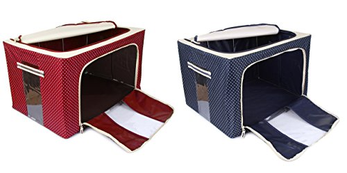 Berry Jumbo Saree Covers with Steel Frames - Foldable Cloth Storage Box Combo - Colour Red-Blue Dotted 66L Your Special Clothes