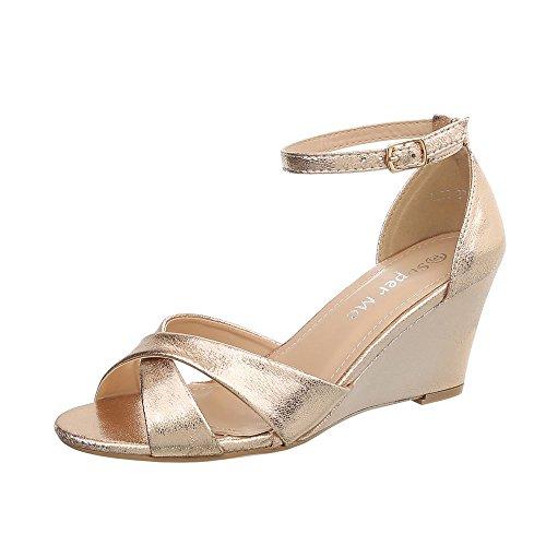 Ital-Design Keilsandaletten Damen-Schuhe Keilabsatz/Wedge Keilabsatz Schnalle Sandalen & Sandaletten Gold, Gr 36, Ll56-