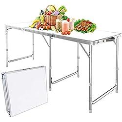 Nestling® 1.8 M 6FT Table Portable De Camping Pliante en Plein Air avec Hauteur Réglable Banquet Pique-Nique Partie Jardin Jardin Pliable Table De Barbecue