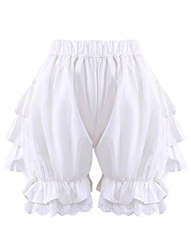 Antaina Weiße Spitze Baumwolle viktorianische Rüschen Lolita Kürbis Pumphose Shorts Hosen,L -