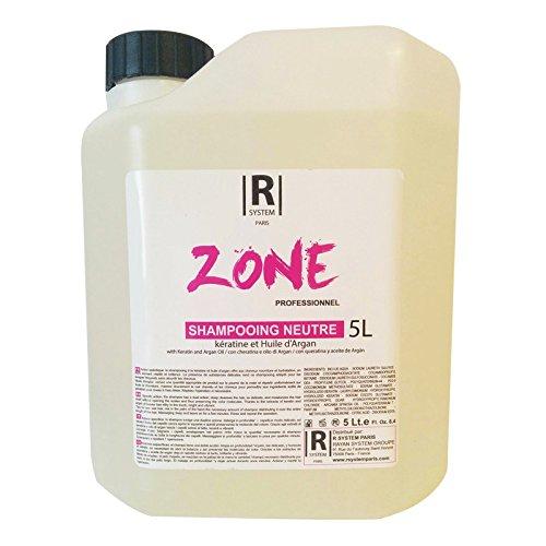 Shampooing neutre à l'extrait de kératine et d'huile d'argan grand format 5L de la gamme Zone Professionnel