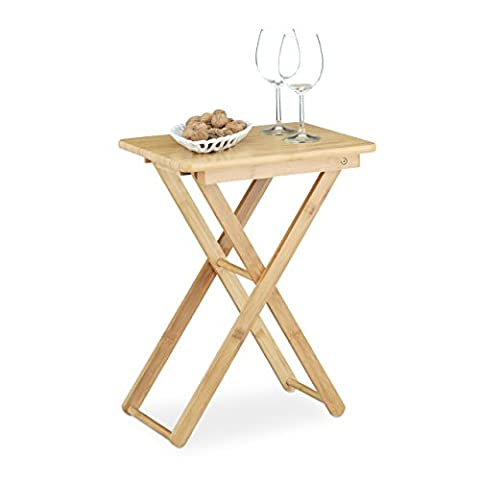 Relaxdays Folding Side Table, Bamboo Wood, Small Foldable TV Table, Rectangular, Hxwxd: ca 52 x 40 x 31 cm, Natural Brown,