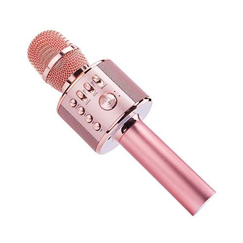 Bluetooth Karaoke Mikrofon, Ankuka 4 in 1 Kabellos Mikrophon mit eingebauten Lautsprechern, Handheld Karaoke Mic für Gesang und Aufnahme, Home Party, Kompatibel mit Android/iOS/PC