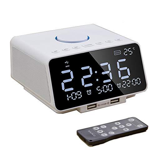 Réveil radio numérique avec haut-parleur Bluetooth, radio-réveil avec double alarme,radio FM, lecteur sans fil Bluetooth,minuterie de sommeil, carte TF,affichage LED,affichage de la température,sieste