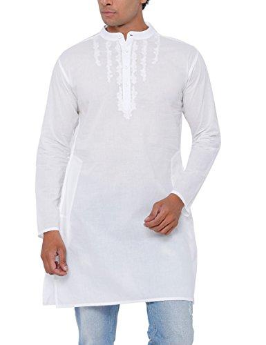SVANIK Men's Knee Length Cotton Kurta (SVELK1816B_Medium_White)