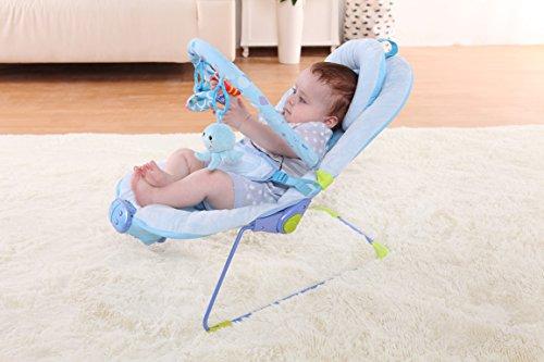 Imagen para Silla mecedora de lujo reclinable, vibradora y musical para bebé, Con soporte para la cabeza (azul)