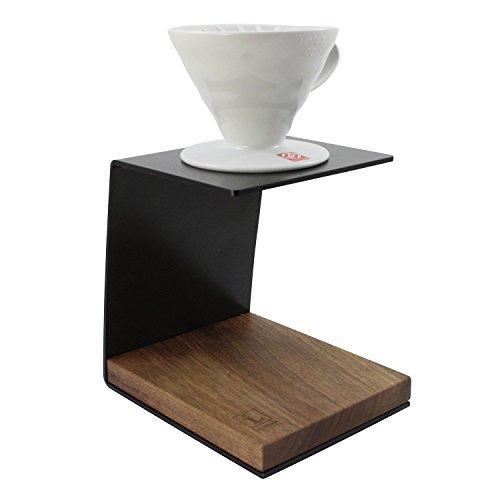 Pour Over Coffee Stand von Leanback Industries aus Holz und Stahl – inkl. 1x Hario V60 Kaffeefilterhalter Porzellan Größe 2 – schicker Kaffeebereiter (Nussbaum - Schwarz, mit Kaffeefilter)