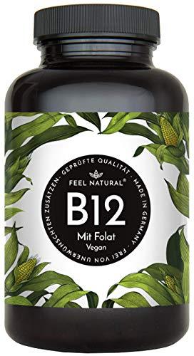 Vitamin B12-180 Tabletten (6 Monate). 1000µg mit bio-aktivem Methyl- und Adenosylcobalamin + Depotform Hydroxocobalamin + Quatrefolic® 5-MTHF. Laborgeprüft, vegan, hergestellt in Deutschland -