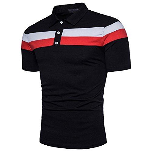 T-Shirt Personnalité Hommes Slim Manche Courte Blouse à Patchwork Malloom