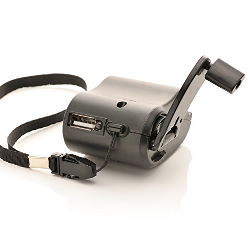 iprotect Notfall Ladegerät mit Dynamo Kurbel einem USB Anschluss und integrierter Taschenlampe in Schwarz