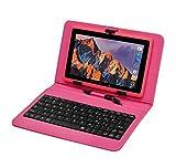 Tablet PC Touchscreen 7 pollici, Tablet Computer con tastiera Android Quad-core Laptop, WiFi, doppia fotocamera, Bluetooth 8 GB ROM ,1 GB RAM, con pennino touch rosa Rosa 7 pollici