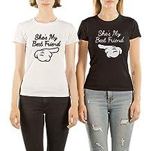 VivaMake Pack 2 Camisetas de Mujer Originales para Mejores Amigas con Diseño My Best Friend