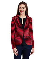 United Colors of Benetton Womens Cotton Jacket (16A3EV2D9603I90242_Red and Black)