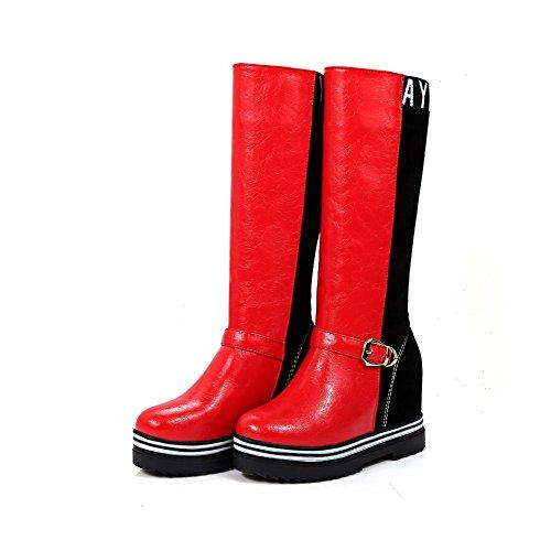 AllhqFashion Damen Rein Ziehen auf Blend-Materialien Rund Zehe Stiefel, Weinrot, 39