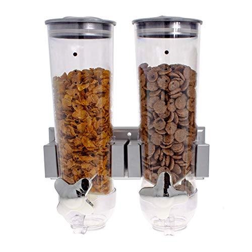 Smartfox 2fach Wandspender Müslispender Dispenser Cornflakes-Dosierer mit 1,5 l Behältern in Silber inkl. Wandhalterung