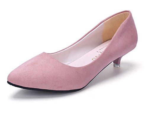 Minetom Donna Estate Scarpe Col Tacco Casuale Tacchetto a spillo Ballerine Scarpe a punta Kitten Heel Shoes Scamosciato Scarpe Rosa EU 35