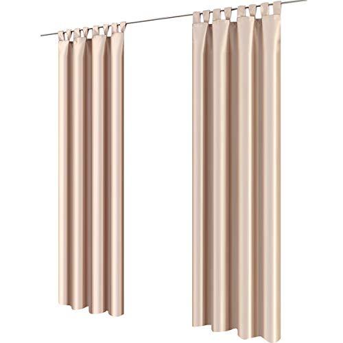 Gräfenstayn® figura - tenda oscurante monocromatica con passanti - 140 x 245 cm (larghezza x altezza) - opaca - molti colori attraenti - Öko-tex standard 100 (beige)