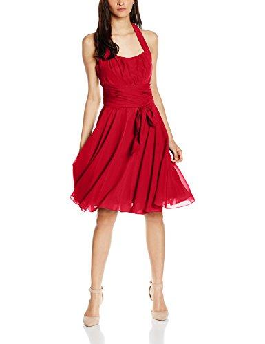 Astrapahl Damen Cocktail Kleid Neckholder, Knielang, Einfarbig, Gr. 42, Rot