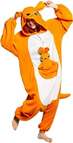 LATH.PIN Jumpsuit Tier Karton Fasching Halloween Kostüm Sleepsuit Cosplay Fleece-Overall Pyjama Schlafanzug Erwachsene Unisex Lounge Nachtwäsche S/M/L/XL (S, Kaengurus)