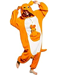 FashionFits - Pijama de una pieza - Manga Larga - para mujer Naranja Kangaroo without Shoes Talla:S(Height: 148-158cm/58-62in)