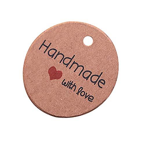 Lumanuby 'Handmade' Etikett Set von 100x 'With Love' Kraftpapier Geschenk Tag mit Rot Herz Deko für Geschenk DIY oder Preisetiketten für Backwaren Verpackung Deko Braun Farbe, DIY Etiketten Serie size 3.5x3.5cm -