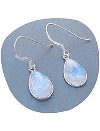 522563eaf2e0 Pendiente natural de piedra lunar del arco iris para las mujeres Pendientes  de piedra de la luna de plata esterlina…