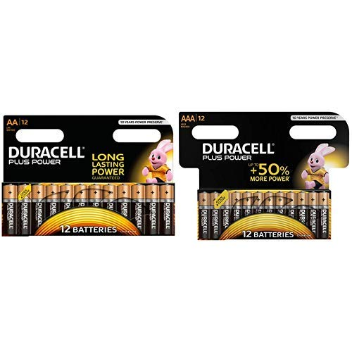 Alkaline Blister Pack (Duracell Plus Power Alkaline Batterien AA (MN1500/LR6) 12 Stück Special Offer Pack &  Plus LR03/MN2400 Power Typ AAA Alkaline Batterien, 12er Pack)