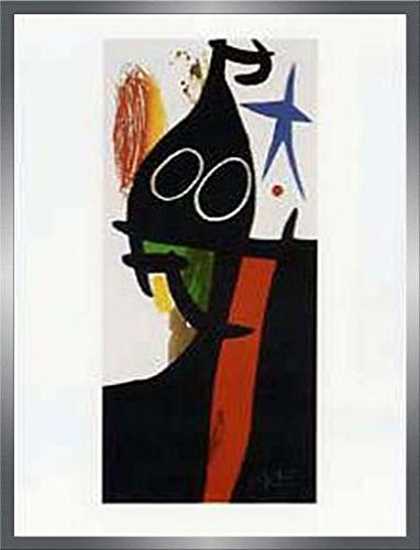Joan Miró Poster Kunstdruck und MDF-Rahmen Holzoptik Zinn-Silber - Der Sarazene Mit Dem Blauen Stern (80 x 60cm)