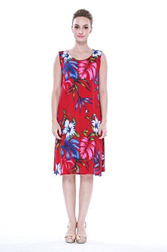 Mujer-hawaiano-Arruga-Una-lnea-Flowy-Luau-Vestido-en-Rojo-bastante-floral