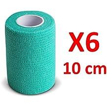 Venda Cohesiva Verde 6 rollos x 10 cm x 4,5 m autoadhesivo flexible vendaje, calidad profesional, primeros auxilios Deportes Wrap Vendas - Pack de 6