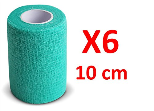 Kohäsive Bandage gedehnt 10 cm x 4,5 m selbsthaftende flexible Bandagen Profi-Qualität 6 Stück -