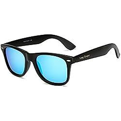 Long Keeper Gafas de sol Polarizadas Gafas de sol Cuadradas Vendimia Clásico para Mujeres Hombres (Azul)