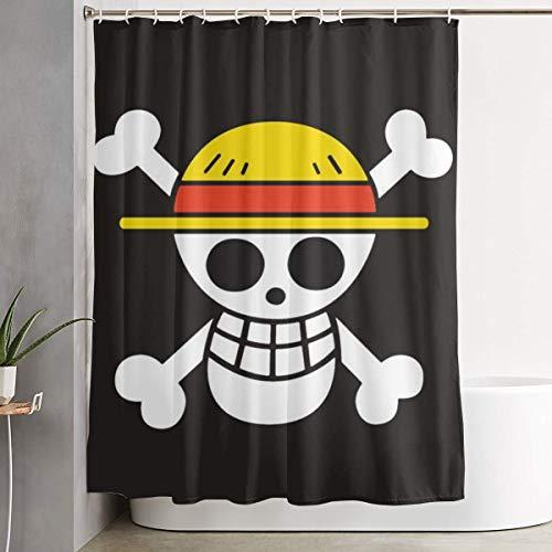 Dnbcjj - tenda da doccia con cappello di paglia e bandiera dei pirati, stampa artistica in tessuto di poliestere, decorazione da bagno, collezione con ganci, 152,4 x 182,9 cm