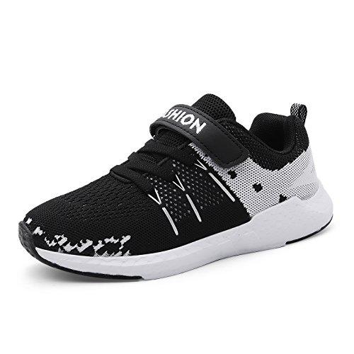Sneaker Kinder Jungen Mädchen Schuhe Sportschuhe Ultraleicht Atmungsaktiv Turnschuhe Klettverschluss Low-Top Sneakers Laufen Schuhe Laufschuhe Schwarz 34