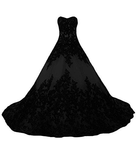 O.D.W Lange Spitze Vintage Brautkleider Frauen Gotisch Hochzeitskleider(Schwarz, 54)