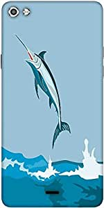 Snoogg Blue Marlin Fish Jumping Retro Designer Protective Back Case Cover For Micromax Canvas Silver 5 Q450