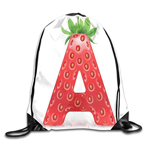 Naiyin Drawstring Backpacks Bags,Letter A In Strawberry Style with Green Leaves Alphabet Fun Food Theme,5 Liter Capacity,Adjustable