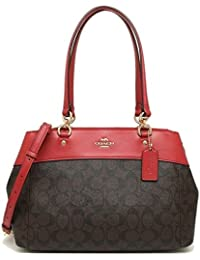 Coach Brooke Signature Carryall Cross-Body Bag Satchel Handbag - BROWN TRUE  RED 2835cc417d65a