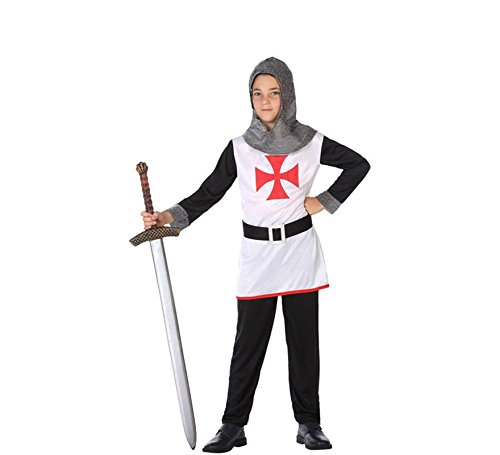ATOSA 56827 Ritter Kostüm für Jungen Costume CRUSADES Knight 7-9, Schwarz/Weiss/Rot, 7 a 9 ()