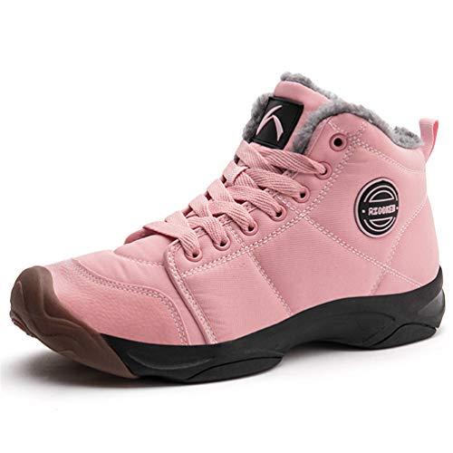 Axcone Winterschuhe Damen Herren Warm Gefüttert wasserdicht Winterschuhe Winter Outdoor Boots Wanderstiefel Stiefel Unisex - Pink 39EU - Stiefel Rosa Fell Winter