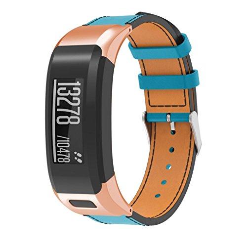 samLIKE Luxus Armband für Garmin vívosmart HR Weich Leder Magnetverschluss Ersatz Armbanduhr Passend für Handgelenk 6.29-8.07 inches (Schwarz, Gold, Roségold, Silber) (Roségold) (7 Gold-armband Zoll)
