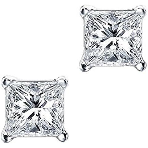 iJewelry2 con zirconia cubica, taglio Princess, quadrato-Orecchini a lobo Unisex in argento, 9 mm, 5ct.) - 5 Ct Orecchini Di Diamanti