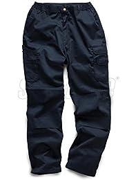"""Para hombre 240gsm Cargo Combatir Pantalones de trabajo pantalones con rodilleras y bolsillo para móvil negro y azul marino 32""""Pierna"""