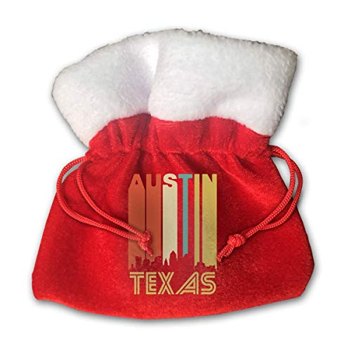 Jkimiiscute Personalized Santa Sack,Retro 1970's Austin Texas Cityscape Downtown Skyline Portable Christmas Drawstring Gift Bag (Red)