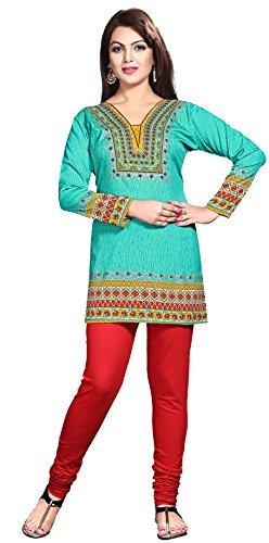 Kurti Top Tunika Frauen Gedruckt Bluse Indien Kleidung (Grün, XL)