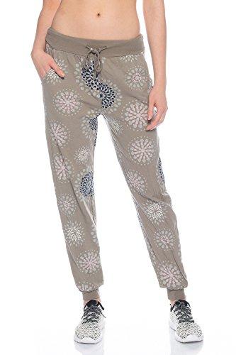 Fashion Flash AM1205 Damen Jogginghose Freizeithose mit Knopfleiste und Mandala Druck (Schlamm)