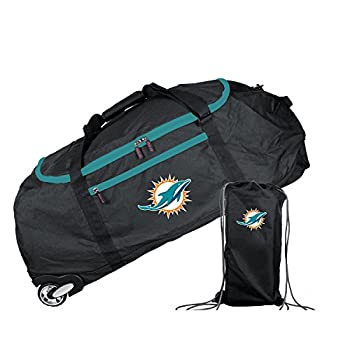 "Mojo Unisex Nfl Miami Dolphins Crusader Collapsible Duffel Inches, Black, 36"" 1"