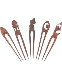 Pelo aguja de madera (Sonor-wood), para peinarla, Número de: juego de 5 pcs triados